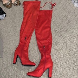 Red/orange suede boots